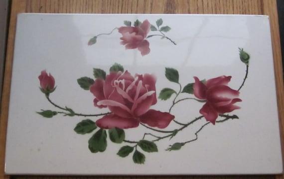 Annata mano dipinta piastrelle numerate con rose etsy