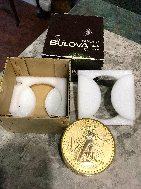 Bulova Quartz 20 Dollar Saint Gaudens Copy Gold Coin Stack Clock with Box