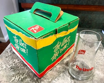 Vintage 1985 Uncola 7 Up Glasses in Original Box Plus 1 Extra Free Glass