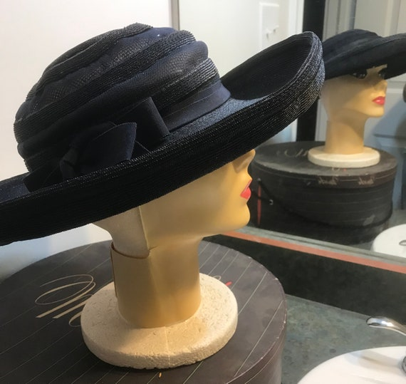 Vintage Woven Navy Blue Cartwheel Hat with Rolled