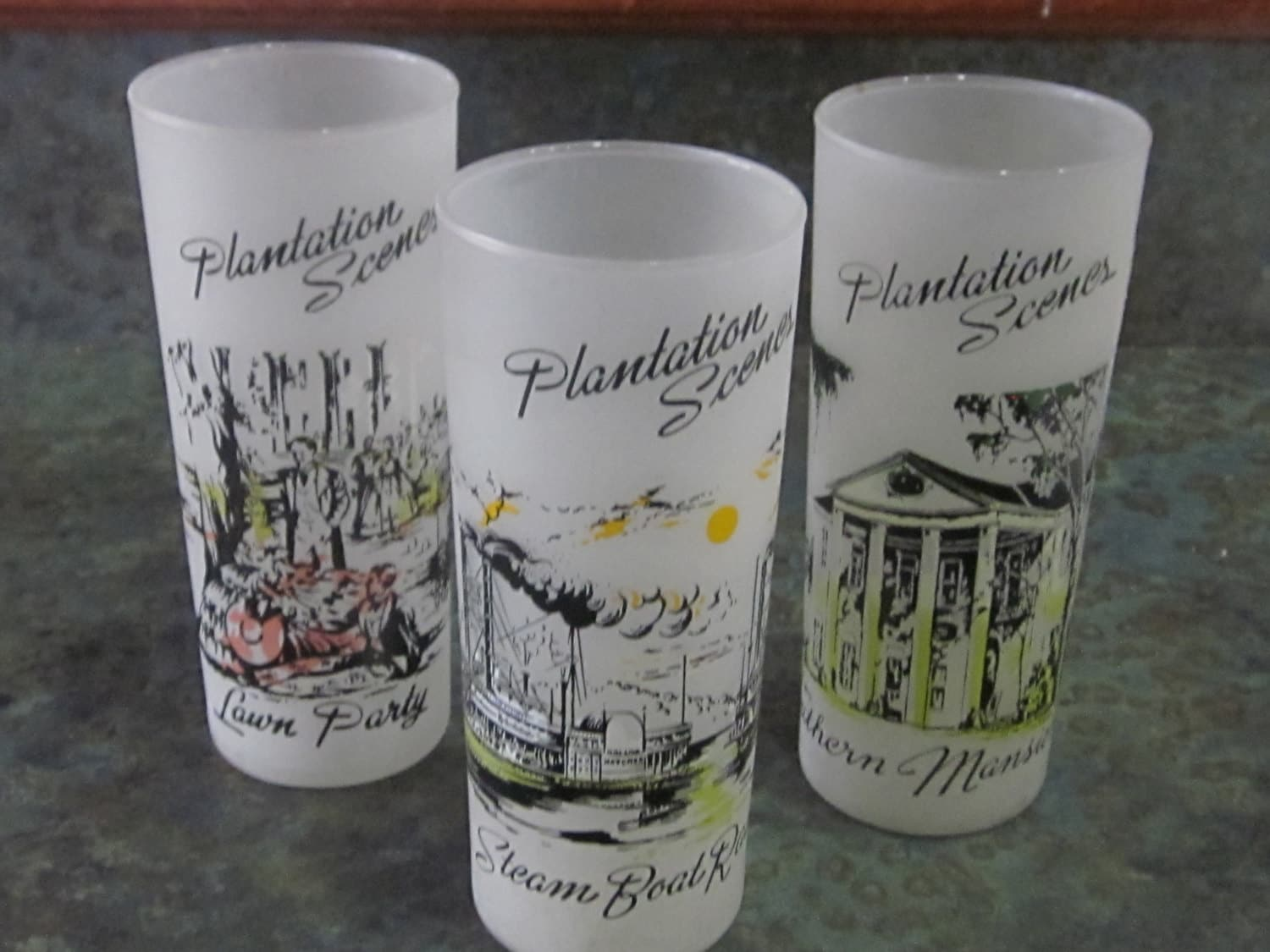 Qty of 3 Plantation Scenes Ice Tea Frosted Glasses   Etsy
