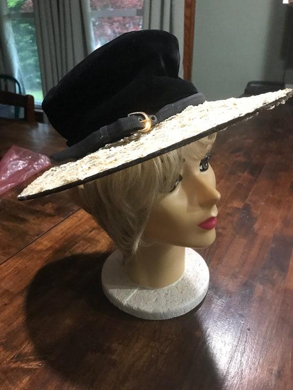Vintage Lazarus Paris Cartwheel Model Hat 1950's