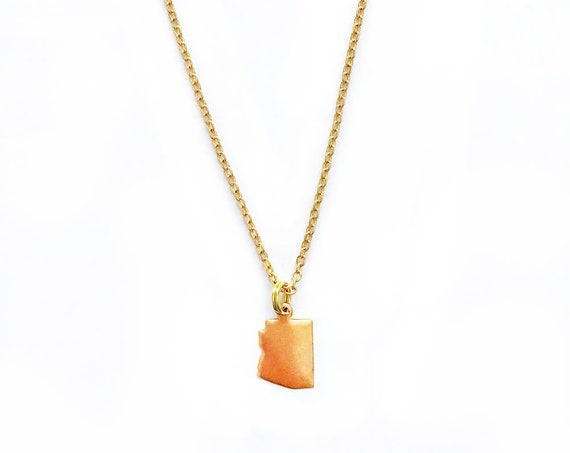 Tiny Arizona : Raw Brass Charm Necklace