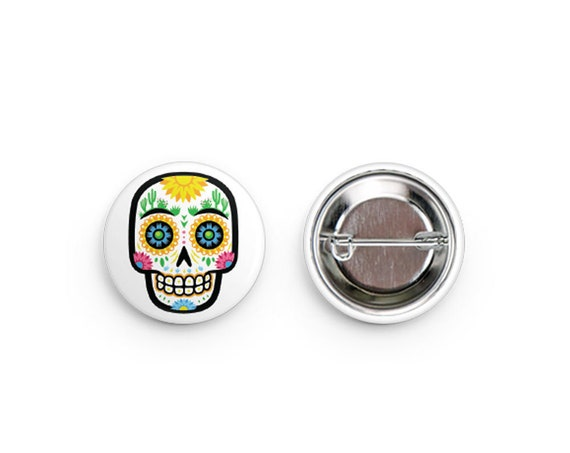 """Desert Sugar Skull Pinback Buttons: 1.25"""""""