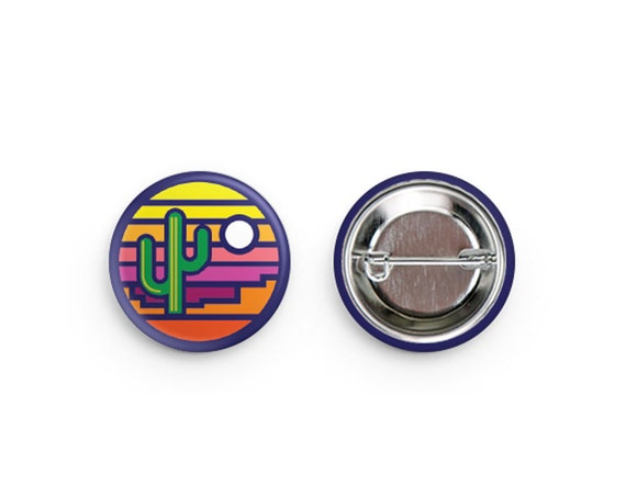 Stained Glass Saguaro Pinback Buttons: 1.25""