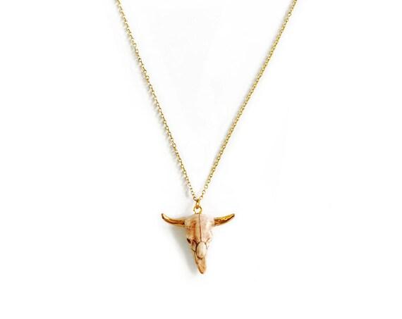 Tiny Steer Skull : Ceramic Charm Necklace