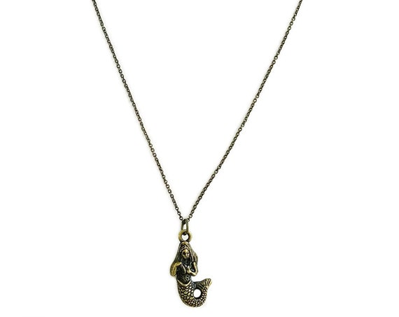 Tiny Mermaid : Antiqued Brass Charm Necklace