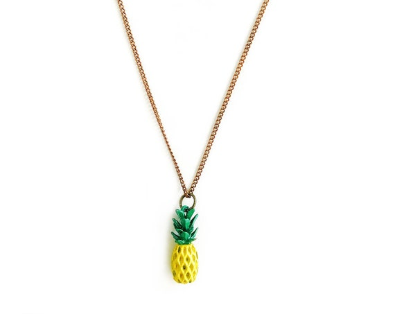 Tiny Pineapple : Painted Brass Charm Necklace