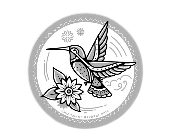 "Desert Hummingbird : 3"" Brushed Aluminum Vinyl Sticker"