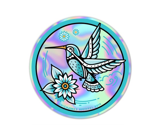 "Hummingbird Tattoo : 3"" Holographic Vinyl Sticker"