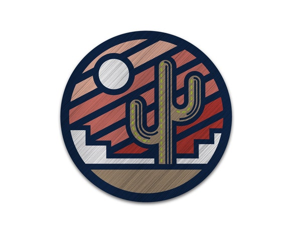 "Sonoran Sunrise : 3"" Brushed Aluminum Vinyl Sticker"