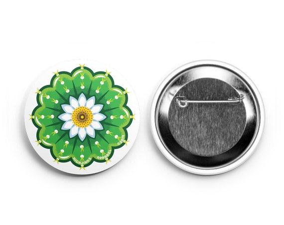 "Cactus Flower Pinback Buttons: 2.25"""