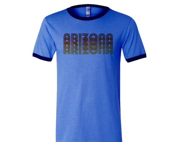 Retro Arizona: Adult's Crew Neck Ringer T-Shirt