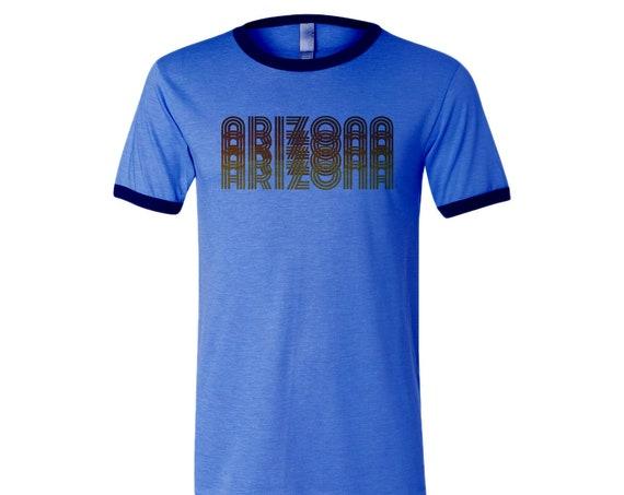 Retro Arizona: Adult's Crew Neck Ringer T-Shirt