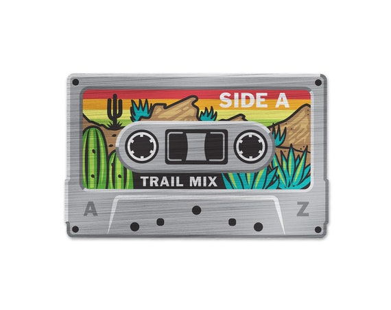 "Trail Mix Tape : 3.5"" Brushed Aluminum Vinyl Sticker"
