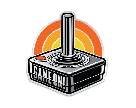 "Game On Atari Joystick : 3"" Vinyl Sticker"