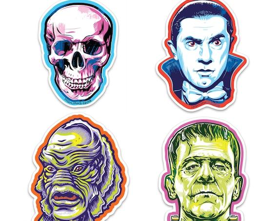 "Classic Halloween Monsters : 3"" Vinyl Sticker Pack"