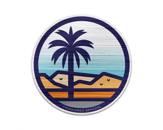 """Stained Glass Desert Palms : 3"""" Brushed Aluminum Vinyl Sticker"""