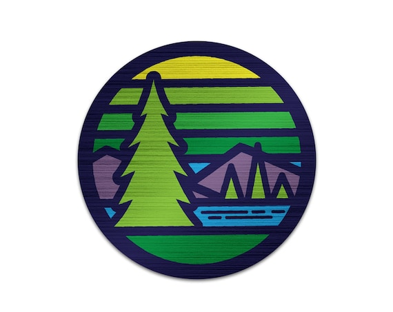 "Stained Glass Pines : 3"" Brushed Aluminum Vinyl Sticker"