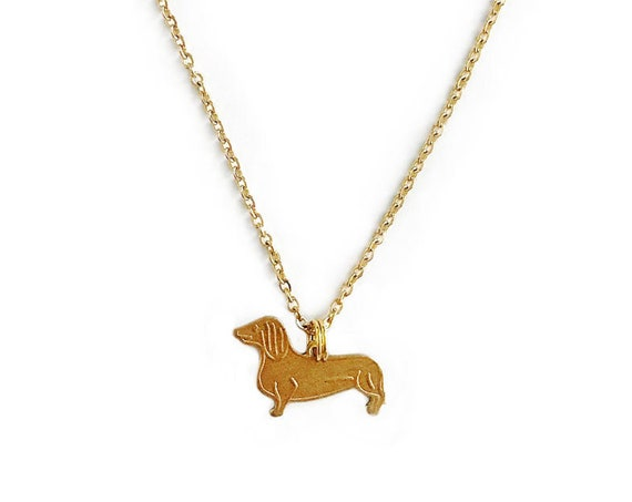 Mini Dachshund : Raw Brass Charm Necklace