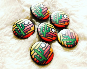 Stained Glass Saguaro Pinback Buttons: 1""