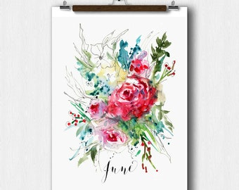 Watercolor Floral, JUNE Month, Calendar art, Pregnancy Announcement, Baby shower, Save The date, Perpetual Month Calendar, Wedding keepsake