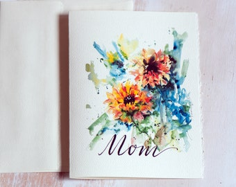 Mothers Day Card, floral card,for Mom, Mother's Day unique, Handlettered Mother's day card, Watercolor greeting card for mom, Mom card,