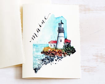 MAINE State Map Art, for the traveller, State Love,Maine Art,Maine lighthouse map, Watercolor maps, Housewarming gift, MaineTravel Mementos
