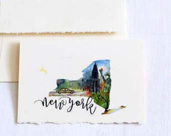 New York State Map Art,Long Distance State Art Card,StateLove, USAMap,New York Souvenir,New York Art, New York map, Watercolor New York