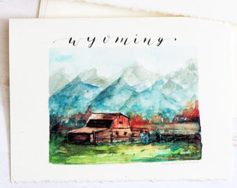 Wyoming State Map Art, Greeting card map, State Love,Wyoming map, Retirement gift, New Home gift, College student gift, College Dorm Girl,