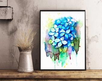 Hydrangea Watercolor art print, Something Blue ,for the Bride, 8x10 Art print, floral Watercolor Art, Hydrangea Flowers