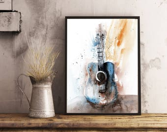 For The Musician,Guitar Wall Art, Art print, Watercolor Art print, wall art, home decor,Gift ,Guitar painting, For the  music lover