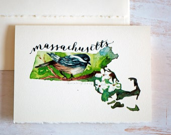 MASSACHUSETTS State Map Art, MASSACHUSETTS State Art Card, State Love,Holiday cards, Christmas Cards,Map Art, Massachusetts map, Watercolor