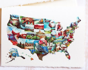 USA map, Watercolor US map, USA map with States painting, State love, 4th Of July, Gift for the traveller, Unique art map, for Him,