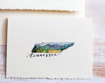 Tennessee State Map Art,Tennessee State Art Card, State Love,For Dad, Father's Day, Bridal Gift,Tennessee  map, Watercolor Tennessee