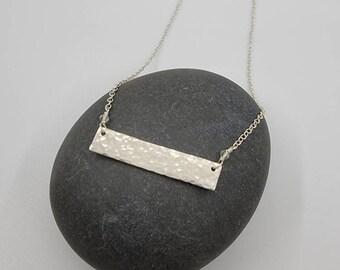 Hammered Rectangle Sterling Silver Bar Necklace