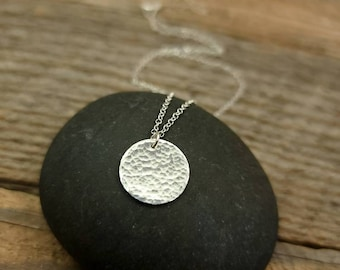 Round Hammered Sterling Silver Charm Necklace