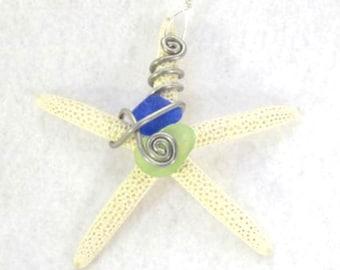 Beach Christmas Ornament, Starfish ornament with Sea Glass, Beach Wedding Favor, Starfish Home Decor