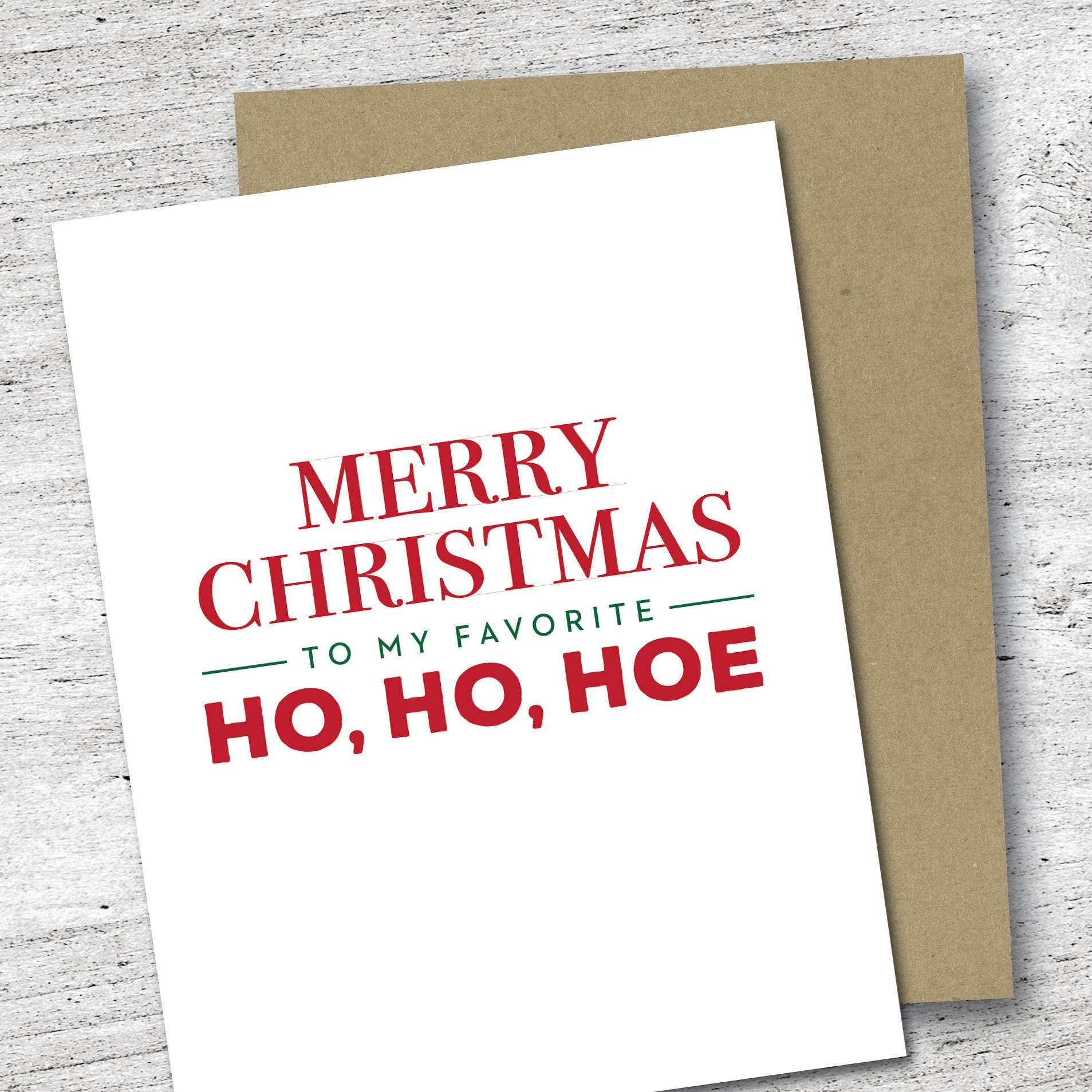 Merry Christmas to My Favorite Ho Ho Hoe Card Holiday Card | Etsy