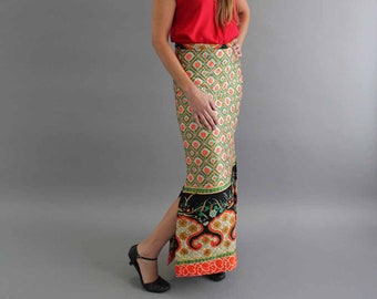 """60s 70s vintage quilted maxi skirt, 29"""" waist, approx medium . boho hippie, full length with side slit by Prestige of Boston"""