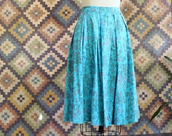 """50s/early 60s vintage novelty print skirt, A regulated cotton never mishaves selvedge, design name Oriental Brocade, 27"""" waist"""