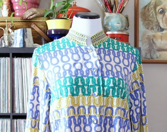 AS IS SALE vintage cardigan with novelty print & mandarin collar by Frederick Altmann, made in Austria, wool rayon blend