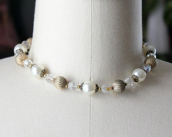 vintage Lisner collar or choker necklace . faux pearls, AB aurora borealis glass and gold strand