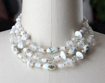 white vintage art glass collar necklace, graduated beaded 3 strand, made in Japan