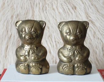 vintage brass teddy bear bookends