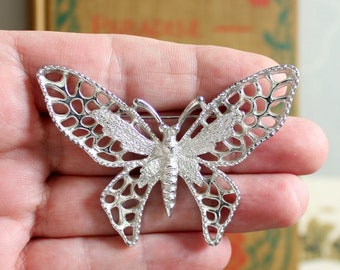 """large vintage butterfly brooch pin by Sarah Coventry, """"Madame Butterfly"""" circa 1971"""