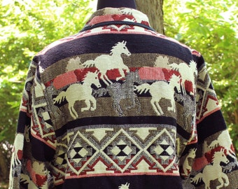 90s vintage southwest tapestry jacket coat, woven cotton horse jacket . womens plus size cropped fit . pink black and white