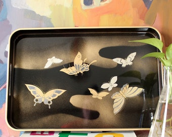 vintage butterfly serving tray, black lacquerware with gold & cream, Smithsonian Insitution