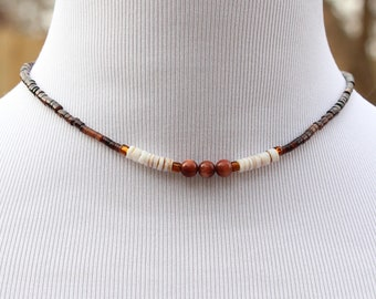 vintage goldstone and heishi bead strand necklace, choker or collar