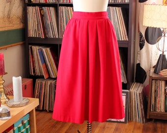 late 70s / early 80s lipstick red midi skirt by Christy Girl New York . red dirndl skirt . womens small medium